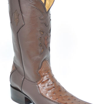 Gavel Men's Spanish Toe Ostrich Boots-Tobacco