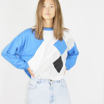 vtg 90s PULLOVER color block jumper blue oversized sweater club kid grunge sweatshirt small medium large extra large