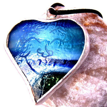 Wish Imbued Heart Necklace - Stained Glass - Handmade - OOAK - Blue Glass - Blue Green Glass -  Green Glass- Glass Pendant