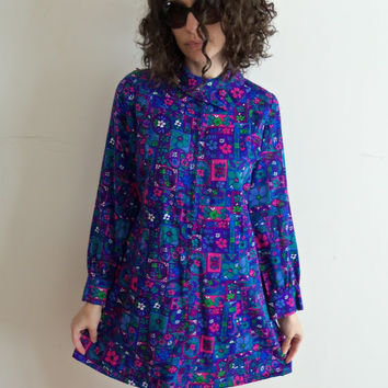 Funky Vintage 60s 70s Purple Hippie Boho Psychedelic Flower Power Scooter Mini Dress