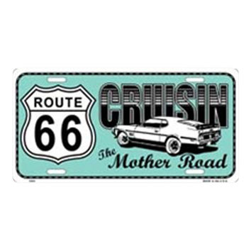 Smart Blonde Route 66 Retro Cruisin Novelty Vanity Metal License Plate Tag Sign