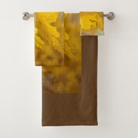 Yellow autumn maple leaves. Add you text or name. Bath Towel Set
