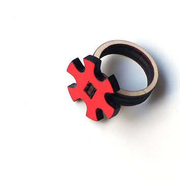 Stylish laser cut wooden ring - model 11/2, cogwheel ring, unique wood jewelry, natural ring
