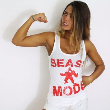 BEAST MODE Women Tanks Top GTM Clothes Fitness Shirt Squat Workout Apparel Motivational White Tee Shirt