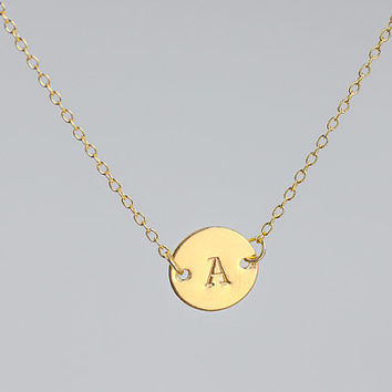 personalized necklace. initial gold filled necklace. Celebrity Inspred necklace. one disc initial Jewelry . friendship, couple necklace