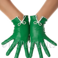 Green Classic Bow Leather Gloves