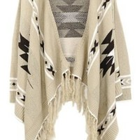SZ Aztec Oversized Lapel Cape Long Sleeved Asymmetric Loose Fringe Tassels Sweater