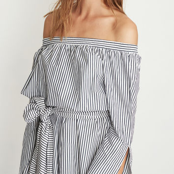 Personality Fashion Stripe Off Shoulder Long Sleeve Belt Romper Jumpsuit Shorts