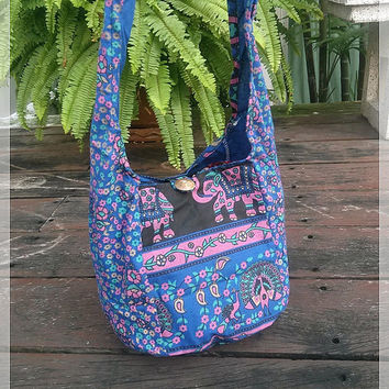 Blue Hippie Elephant Mini Shoulder Bag Sling Gyspy Boho Pouch Peacock Ethnic Aztec Art Printed Purse Beach Tote For School Bags Crossbody