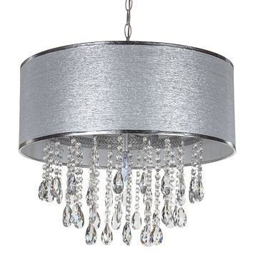 Large 5 Light Crystal Plug-In Chandelier with Cylinder Shade (Silver)