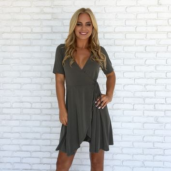 Olive Branch Jersey Wrap Dress