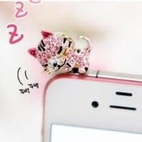 Dust Plug-earphone Jack Accessories Pink Crystal Cat with Flexible Head/ Cell Charms / Dust Plug / Ear Jack for Iphone 4 4s / Ipad / Ipod Touch / Other 3.5mm Ear Jack(with Cutely Gift Box)