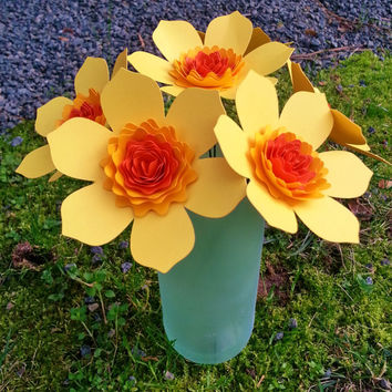 Paper Flower Bouquet - 6 Yellow and Orange Paper Daffodils - Handmade Paper Flowers for Brides, Weddings, Showers, Birthdays