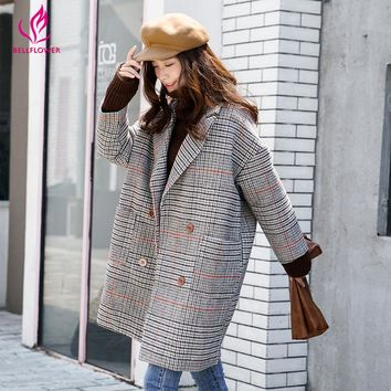 Winter Women Coat 2017  Long Sleeve Korean Women's Long Coat Double Button Slim Overcoat Fashion Plaid Cotton Warm Coat