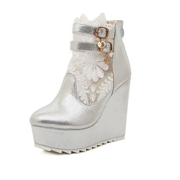Womens Charming Ankle Strap Wedge Platforms
