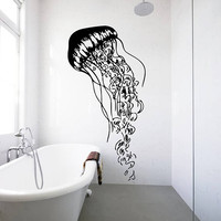 Jellyfish Wall Decal, Jellyfish Wall Sticker, Jellyfish Bathroom Wall Decor, Sea Life Wall Decor, Beach House Decor, Under Sea Decor se036