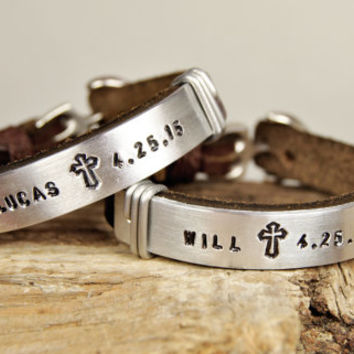 FREE SHIPPING - Personalized Couple Bracelet, Leather Men Bracelet, Men's and Women's Leather Bracelet, Anchor Clasp Couple Bracelet