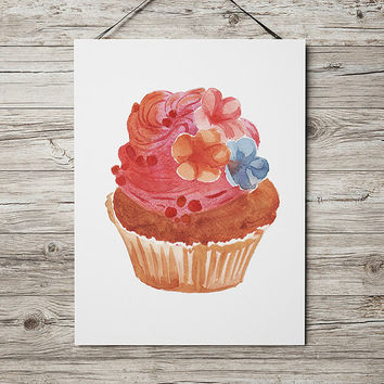 Kitchen print Cupcake art Watercolor poster Food print ACW612