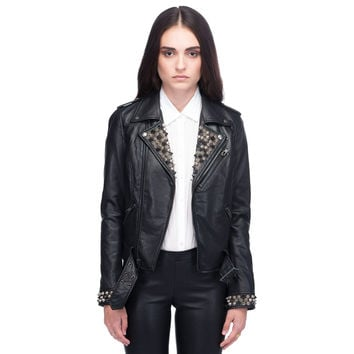 Studded Moto Leather Jacket