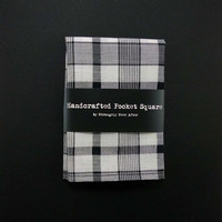 black white plaid pocket square – lightweight cotton mens tartan handkerchief – mans rustic hankie – second anniversary gift