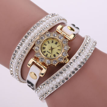 Korean Stylish Diamonds Watch Strong Character Pearls Ring Ladies Bracelet Watch [6050441153]