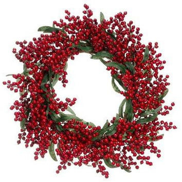 "Artificial Christmas Wreath - 22 ""  - Holly Berry"