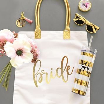 Gold Bridal Party Tote Bags