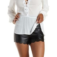 Black Laser-Cut Scalloped Faux Leather Shorts by Charlotte Russe
