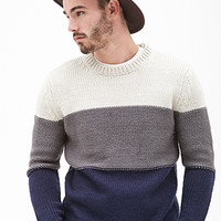 Colorblocked Fisherman Sweater Cream/Navy