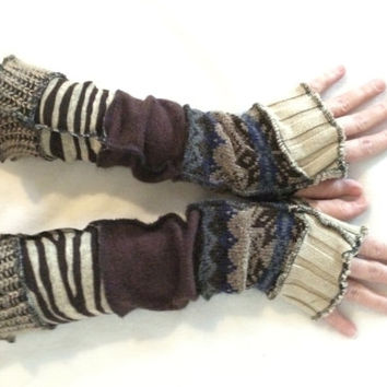 Upcycled Fingerless Gloves  Brown Cream Armwarmers Recycled Wrist warmers Stripe Gloves Knit Gloves Fingerless Mittens