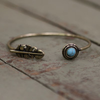 Gold and Turquoise Feather Bangle