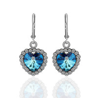 Blue Love White Gold Plated Earring