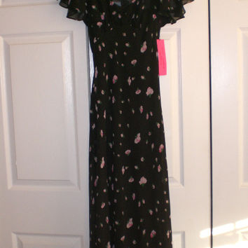 Sale Brand New With Tags Xs Betsy Johnson Maxi Lined Dress Flutter Sleeves Zip Back 90 S Retro Rose Print! ! (Betsey Johnson)