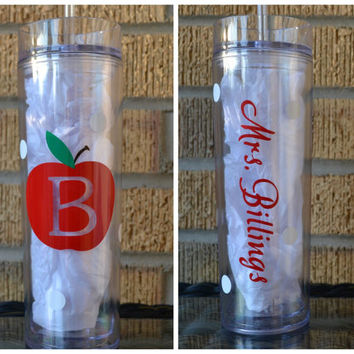 Teacher Gift - Skinny Tumbler Apple Initial Monogrammed  Personalized Cup Tumbler