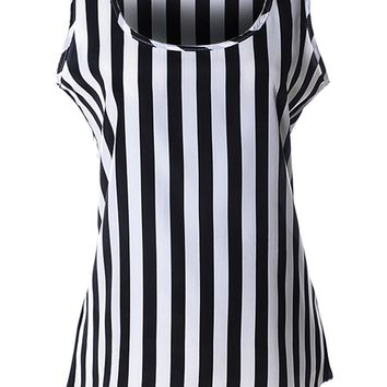 Streetstyle  Casual Black White Vertical Striped Round Neck Sleeveless T-Shirt