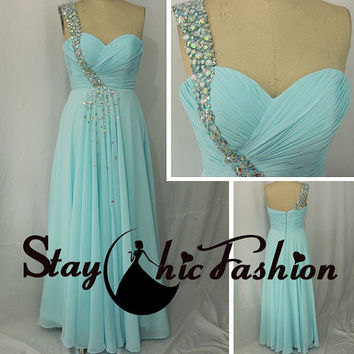 Jewels Adorned One Strap Blue Long Prom Dress,Pleated Bust Beaded One Strap Chiffon Formal Dress