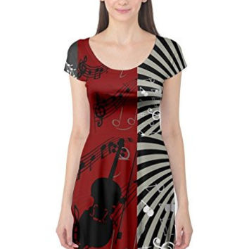 CowCow Womens Pattern With Music Notes Treble Clef Cap Sleeve Dress