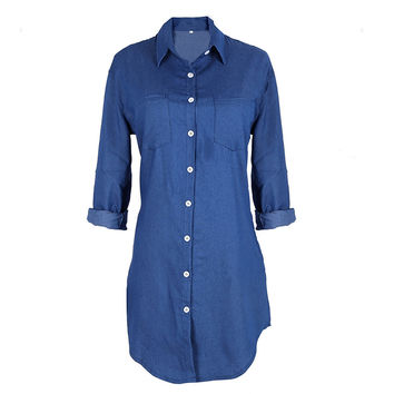 Summer/Autumn Women Long Sleeve Loose Imitation Denim Mini Dress Casual Long Jeans T Shirt Dress