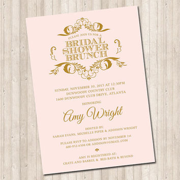 Bridal Shower Pink & Gold Scroll Invitation