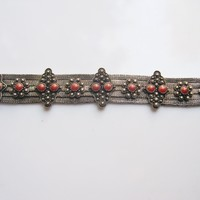 Silver Mesh Middle East Bracelet with Red Brown Cabochons