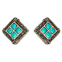 Tang and Song Turquoise Four Piece Diamond Shaped Earrings - Max and Chloe