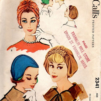 McCall's 2341 Retro Vintage Sewing Pattern Mod 1960s Ladies Soft Hat Cap Turban Headwrap Beret Size 23""