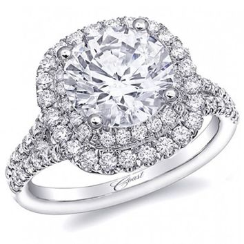Coast Cushion Double Halo Prong Set Split Shank Diamond Engagement Ring
