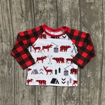 Christmas Fall/winter baby boys children clothes boutique cotton top t-shirts raglans outfits moose plaid reindeer white kids