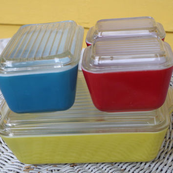 Pyrex Primary Colors Refrigerator Dishes 8 piece Set with Lids Vintage 1950s Red Blue Yellow