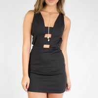 SZ LARGE Harbin Black BodyCon Dress