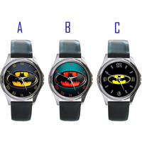 Batman logo Metal Watch Leatherband limited edition