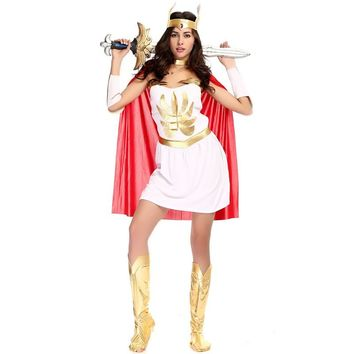 Woman Goddess Athena Role play Halloween She-Ra Costume Female warrior Queen Cosplay Purim Carnival Masquerade Rave party dress