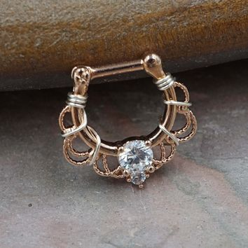 CZ Crystal Rose Gold Clicker Hoop Septum Clicker 16 Gauge