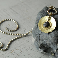 Hammered Disc Necklace Pendant // Brass Yoga Necklace // Unisex Bohemian Fossil Choker